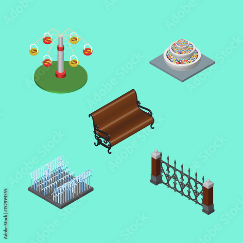 Foto op Aluminium Groene koraal Isometric Architecture Set Of Fountain, Swing Attraction, Fence And Other Vector Objects. Also Includes Plants, Swing, Rotation Elements.