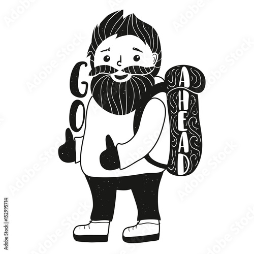 Inspiration vector illustration with cute smiley face bearded man with backpack Poster