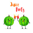Funny cartoon watermelons clink glasses of juice. Juice Party. Flat style. Vector. - 153011991
