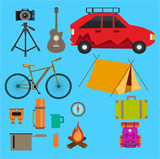 camping design elements various colored icons isolation