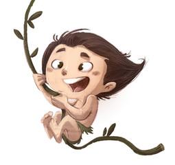 niño salvaje en la selva