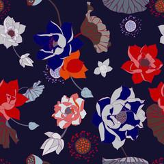 dark lotus botanical vector seamless pattern