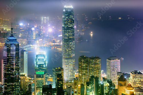 Poster Cityscape of Hong Kong at night scene., Urban of Hong Kong.