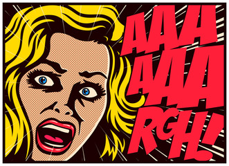 Pop Art style comic book panel with terrified woman in a panic screaming in terror vector poster design illustration