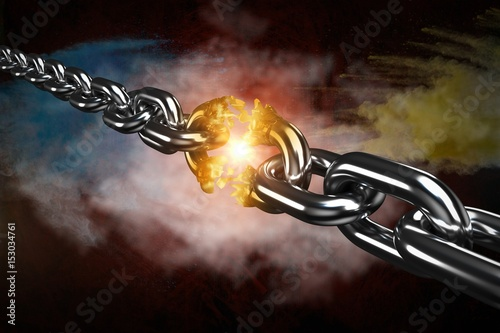 Composite image of 3d image of damaged silver chain Poster