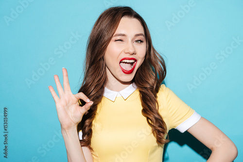 Cute excited girl in dress showing ok gesture and winking Poster