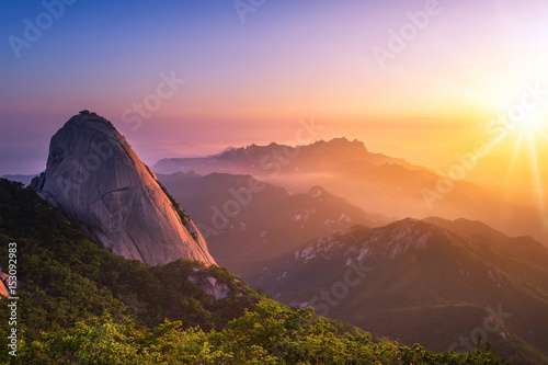 mountain in korea at sunrise located in gyeonggido seoul, south korea Poster
