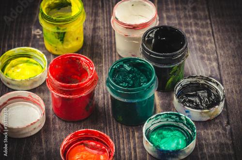 paints gouache in jars/paints gouache in jars on a dark background Poster
