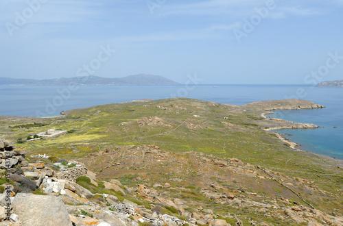 Le nord de l'île de Délos en Grèce