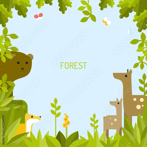 Fotobehang Zoo Beautiful background with forest animals. Vector flat illustration.