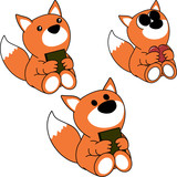 lovely cute little baby fox cartoon set in vector format very easy to edit
