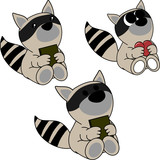 lovely cute little baby raccoon cartoon set in vector format very easy to edit