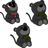 lovely cute little baby panther cartoon set in vector format very easy to edit