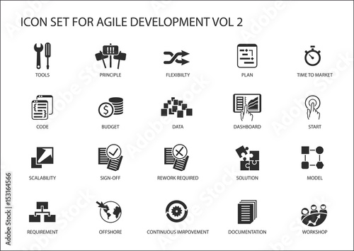 Agile software development vector icon set - 153164566
