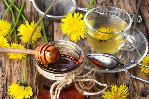 Tea with dandelion jam