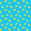 Colorful pattern with many yellow bananas on blue background - 153167139