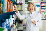 Pharmaceutist in pharmacy drugstore