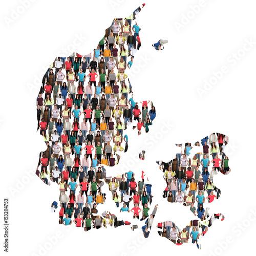 Poster Dänemark Karte Leute Menschen People Gruppe Menschengruppe multikulturell