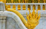 Steps of NAGA ( the king of sneak ) in The Borommangalanusaranee Pavilion  in The Ananta Samakhom Throne Hall. It  is a major tourist attraction in Bangkok, Thailand.(public place)
