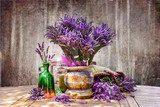 Bouquet of fresh lavender on the table - 153233911