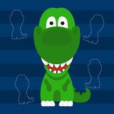cute little t rex green color kids t shirt design