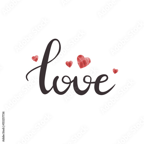 Póster Vector letras manuscritas aisladas Amor y corazones lindos sobre fondo blanco