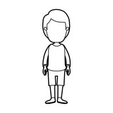 black thick contour caricature faceless guy with hairstyle looking to front vector illustration - 153268169