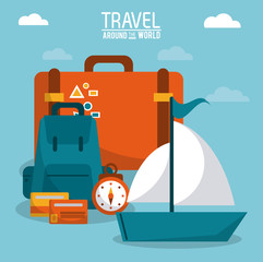 travel around the world. ship boat luggage credit card time vector illustration