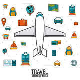 travel around the world. airplane vehicles transport luggage map money vector illustration
