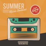 vintage poster summer music festival cassette vector illustration