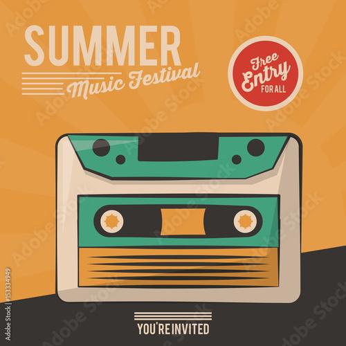 Fotobehang Vintage Poster vintage poster summer music festival cassette vector illustration