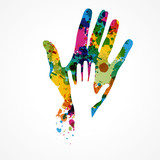 empreinte main colorée