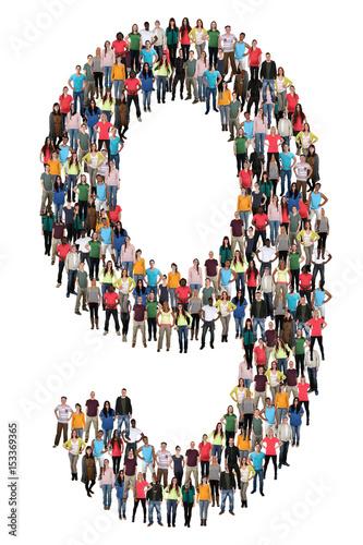 Poster Zahl Ziffer 9 neun Leute Menschen People Gruppe Menschengruppe