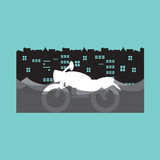 Motorcycle In A Flood Vector Illustration