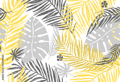 Seamless exotic pattern with yellow gray palm leaves on white background. Vector hand draw illustration.