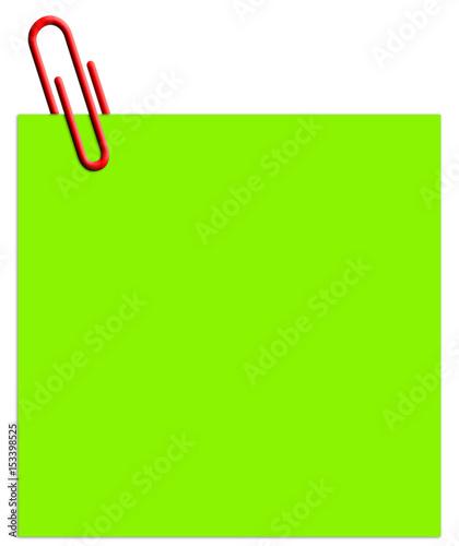 trombone rouge sur post-it vert  - 153398525