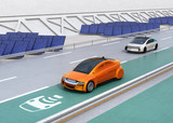 Fototapety Electric car driving on the wireless charging lane of the highway.  Solar panel station on the roadside. 3D rendering image.