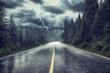 Leinwandbild Motiv Unwetter mit Regen und Blitz auf Strasse