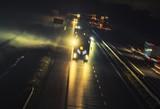 Foggy Highway Evening Traffic