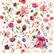 Watercolor floral pattern - 153422181