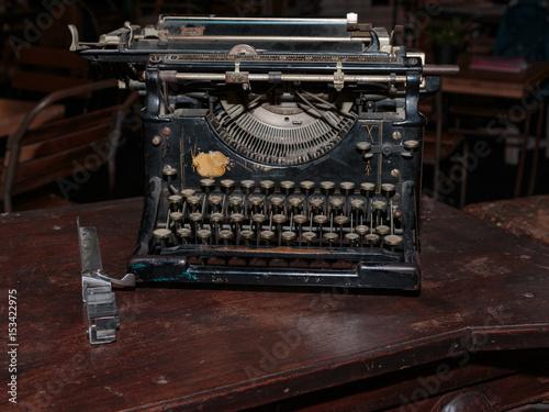 Poster Black Vintage Typewriter: Front View