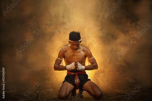 Póster muay thai,Thai boxing vintage style,Thailand