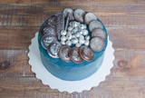 cream cheese galaxy cake with cookies and chocolate marmelade
