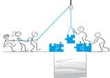 Fototapety Strichmännchen bauen Brücke - team zieht an einem Strang