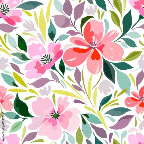 Seamless pattern with a bright summer floral print, flowers, foliage. Summer flowering meadow. - 153477985