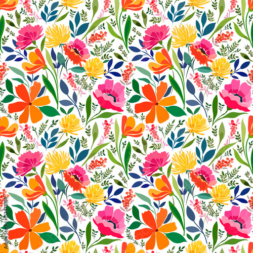 Seamless pattern with bright summer meadow flowers, Floral ornament. - 153478104