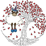 Sheep sitting in the love tree
