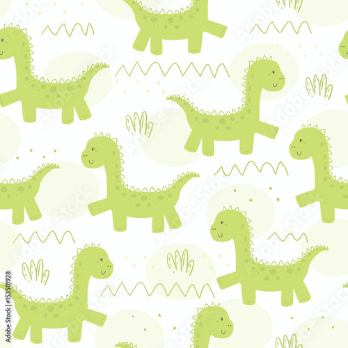 Cotton fabric Cute seamless pattern with funny dinosaurs. vector illustration.