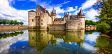 Beautiful medieval castle Sully-sul-Loire. famous Loire valley river in France - 153502343