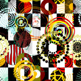 abstract geometric seamless background with circles, paint strokes and splashes, black and white, seamless